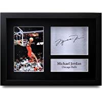 HWC Trading Michael Jordan Gift Signed A4 Printed Autograph Chicago Bulls Gifts Photo Display