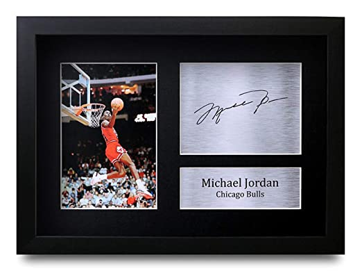 HWC Trading Michael Jordan A4 Enmarcado Regalo De Visualización De Fotos De Impresión De Imagen Impresa Autógrafo Firmado por Chicago Bulls Los ...