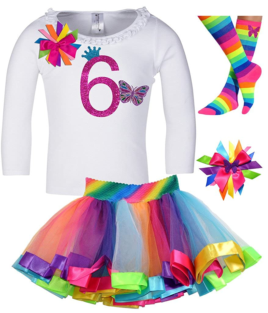 Bubblegum Divas Little Girls 6th Birthday Butterfly Shirt Rainbow Tutu Socks Hair Bow 4pc Outfit