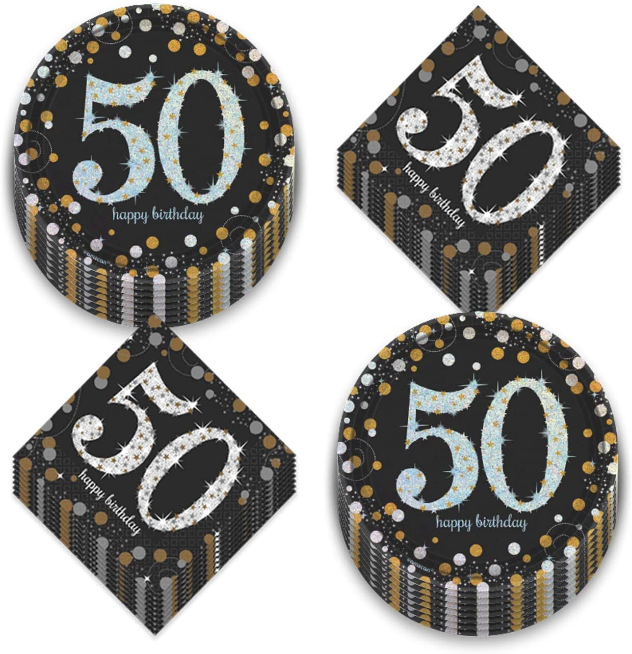 50th Birthday Party Supplies - Metallic Silver and Gold Dot Paper Dessert Plates and Beverage Napkins (Serves 16)