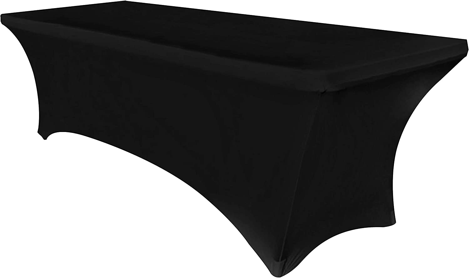 Obstal 6ft Stretch Spandex Table Cover for Standard Folding Tables - Universal Rectangular Fitted Tablecloth Protector for Wedding, Banquet and Party (Black, 72 Length x 30 Width x 30 Height Inches)