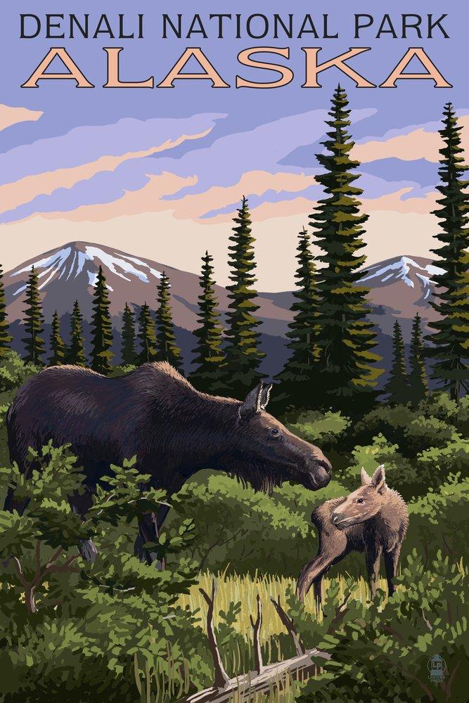 デナリ国立公園、アラスカ – ムースとCalf 36 x 54 Giclee Print LANT-42441-36x54 36 x 54 Giclee Print  B017EA01NE