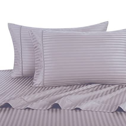 Full, Lilac Stripes, Bed Sheets Set, HOTEL LUXURY 300 Thread Count