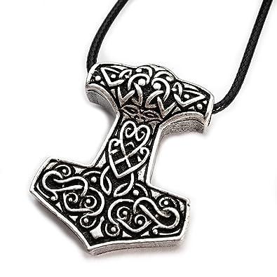 5d319b8b51ffe Miss – E – Bijoux TM Argent Antique Ornate Viking Odin Pendentif Collier  pour Femme Homme