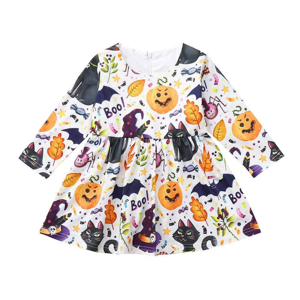 Belloc Girls Long sleeve Cartoon Animals Print Dress Halloween Costume (80)