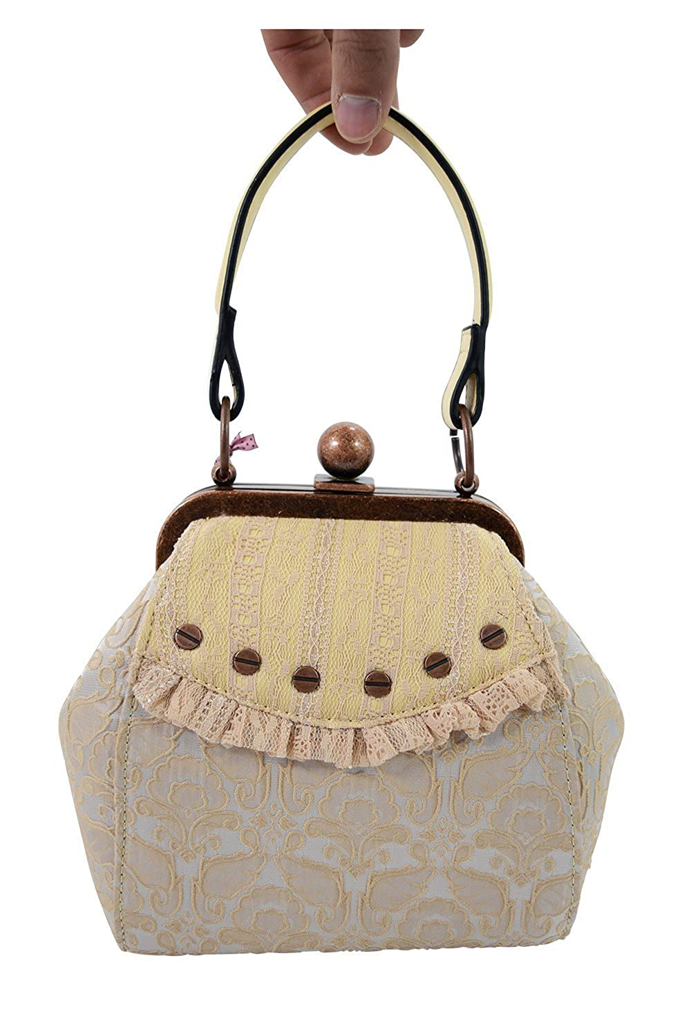 1950s Handbags, Purses, and Evening Bag Styles Banned Victorian Steampunk Jacquard Fabric Antique Large Clasp Small Purse $49.00 AT vintagedancer.com