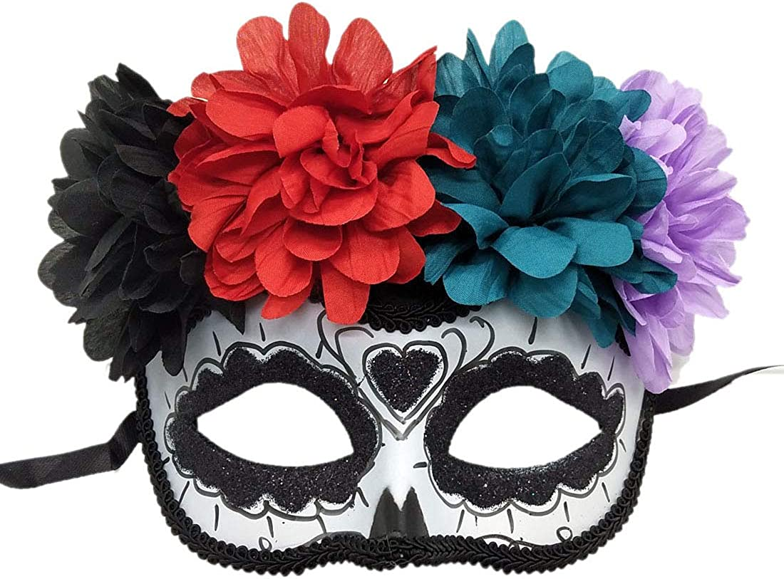 FANCY DRESS ACCESSORY # HALLOWEEN ADULT MEXICAN DAY OF THE DEAD EYE MASK
