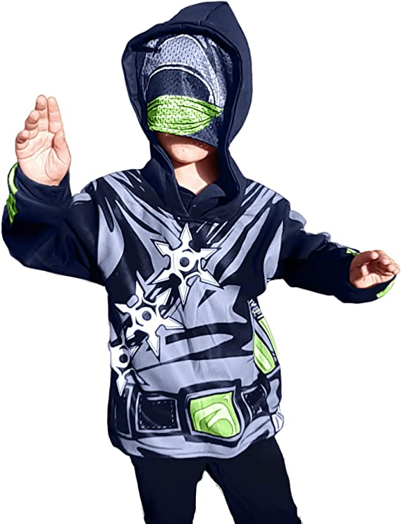 Zombie Mask, Ninja Costume, Rocker Skeleton Mask Full Zip Up Hoodie Halloween Costumes for Boys