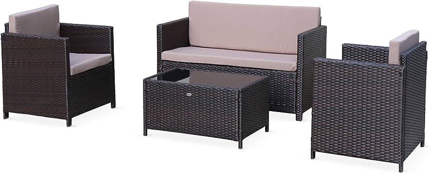 Salon de Jardin en résine tressée - Perugia - Chocolat, Coussins Marron - 4  Places - 1 canapé, 2 fauteuils, Une Table Basse
