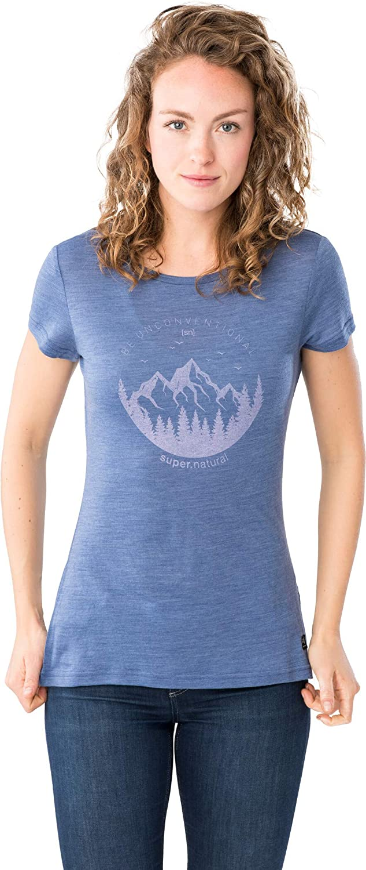 Supernatural Women's W Printed Tee Short Sleeves Printed Short-Sleeved Shirt Coastal Fjord Melange/Fairy Tale Unconventional