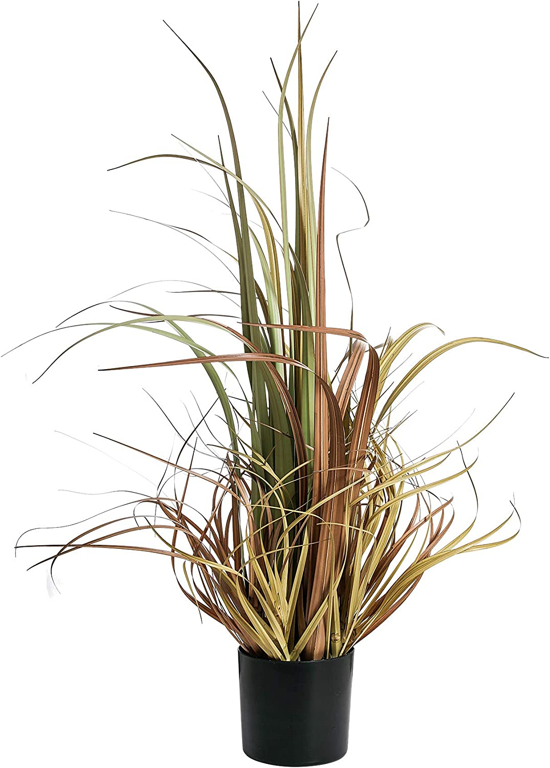 QL DESIGN 32 inches Artificial Potted Plant, Curve Artificial Grass Plants for Office/Home Decor