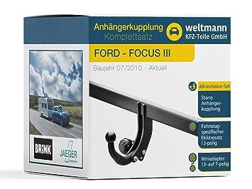Mundo Muñeco 7b060005 Ford Focus III - Starre Remolque Incluye fahrzeugspezifischem 13 pines Juego eléctrico: Amazon.es: Coche y moto