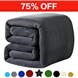 Fleece Queen Blanket 330 GSM Super Soft Warm Extra Silky - Couch and Bed Blanket (Dark Gray)