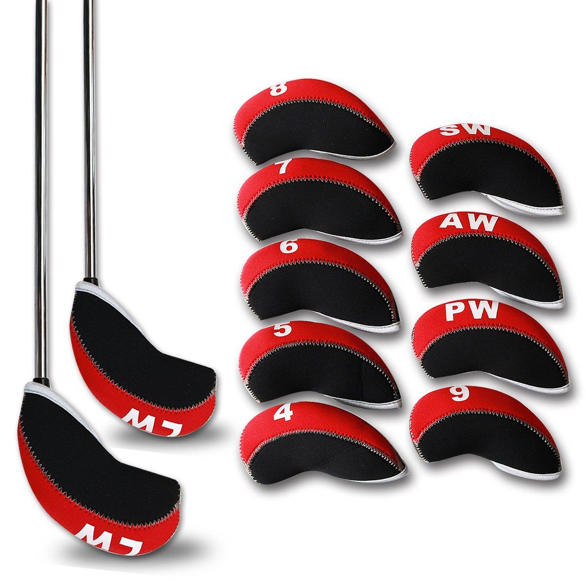 Casar Golf 11PCS 4#-Lw Red & Black Neoprene Golf Iron Covers Headcovers Set For Taylormade Cobra Callaway Mizuno Adams Ping