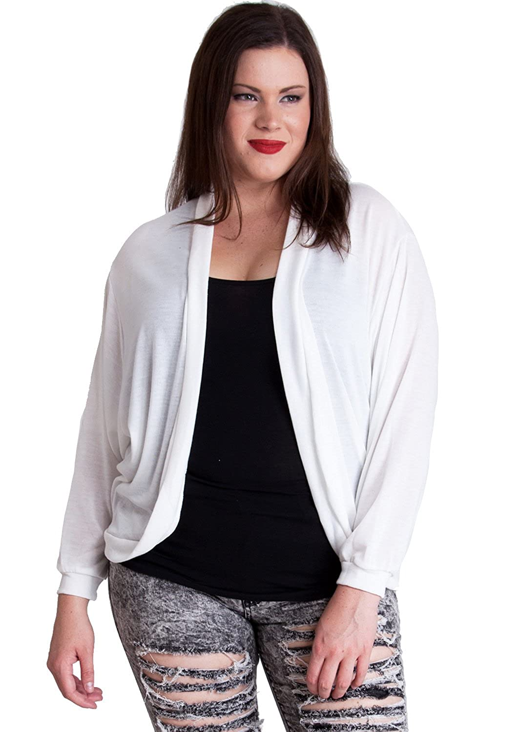 Ladies Black Plus Size Curved Open Front Dolman Sleeve Cardigan