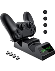Cargador Mando PS4, KNONEW PS4 Estación de carga USB Base de Carga Rápida para Sony Playstation 4 / PS4 / PS4 Pro / PS4 DualShock mando delgado con 4 dongles de carga micro USB y 4 Grips para pulgar