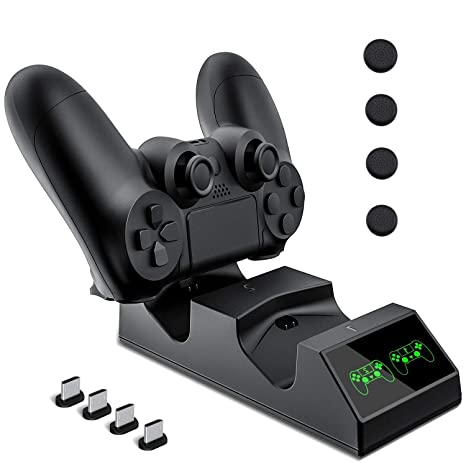 Cargador Mando PS4, KNONEW PS4 Estación de carga USB Base de Carga Rápida para Sony Playstation 4 / PS4 / PS4 Pro / PS4 DualShock mando delgado con 4 ...