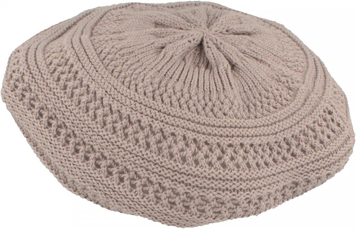 Baskenm/ütze besonders leicht /& faltbar One Size aus 100/% Baumwolle grob gestrickt Strickm/ütze f/ür Damen LOEVENICH Sommer Damenm/ütze