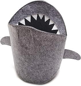 Lolji Decorations Kids Shark Laundry Dirty Clothes Basket Toys Storage Organizer Bin Hamper Tote Box Felt Cloth Eco-Friendly Collapsible Foldable Multi-Functional