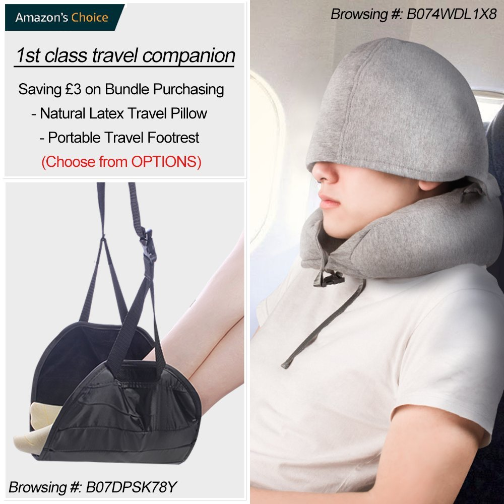 Natural Latex Travel Pillow for Airplanes- Airplane Neck Pillows Travel with Ultra Comfort for using in Airplane Car 2 in 1 Hoodie Anit-Mite Travel Neck Pillow with Hood Train /& Office Z9