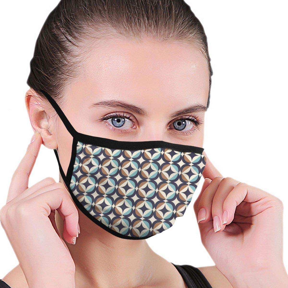 Máscara de protección contra Virus, diseño Retro sin Costuras, Estilo escandinavo, con Elementos geométricos para protección antivirus y Salud Personal, Antipolvo, m