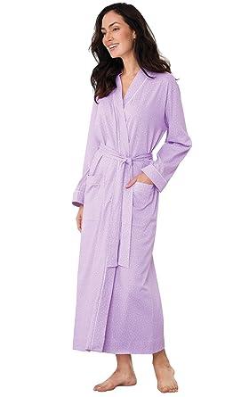 PajamaGram - Bata para Mujer - 100% algodón - Lunares - Lavanda - M: Amazon.es: Ropa y accesorios