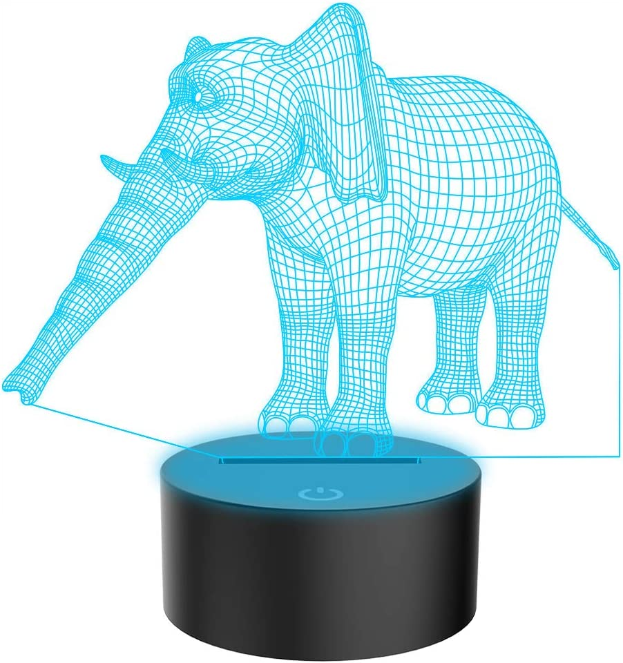 ELEPHANT SHAPED LED 7 COLOR CHANGING LAMP NIGHT BEDROOM HOME DECOR GIFT FUNNY