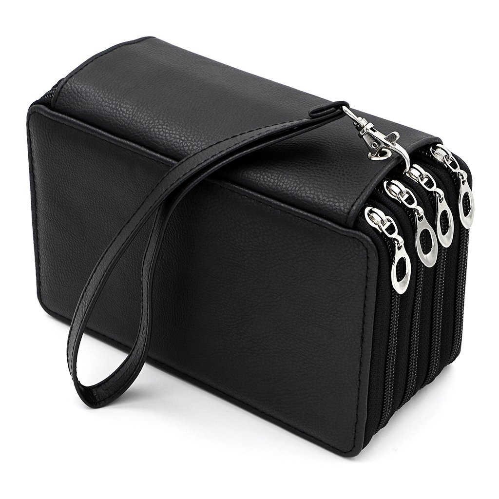 BTSKY PU Leather Colored Pencil Case with Compartments-72 Slots Handy Pencil Holder for Watercolor Pencils, Gel Pens and Ordinary Pencils (Black)