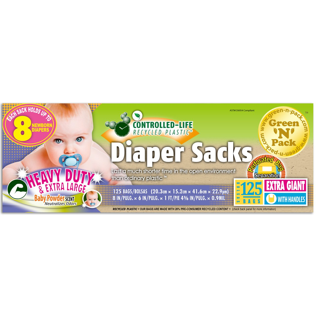 Green'N'Pack EasyTie Scented Baby Diaper Sacks, Extra Large, 125 Count