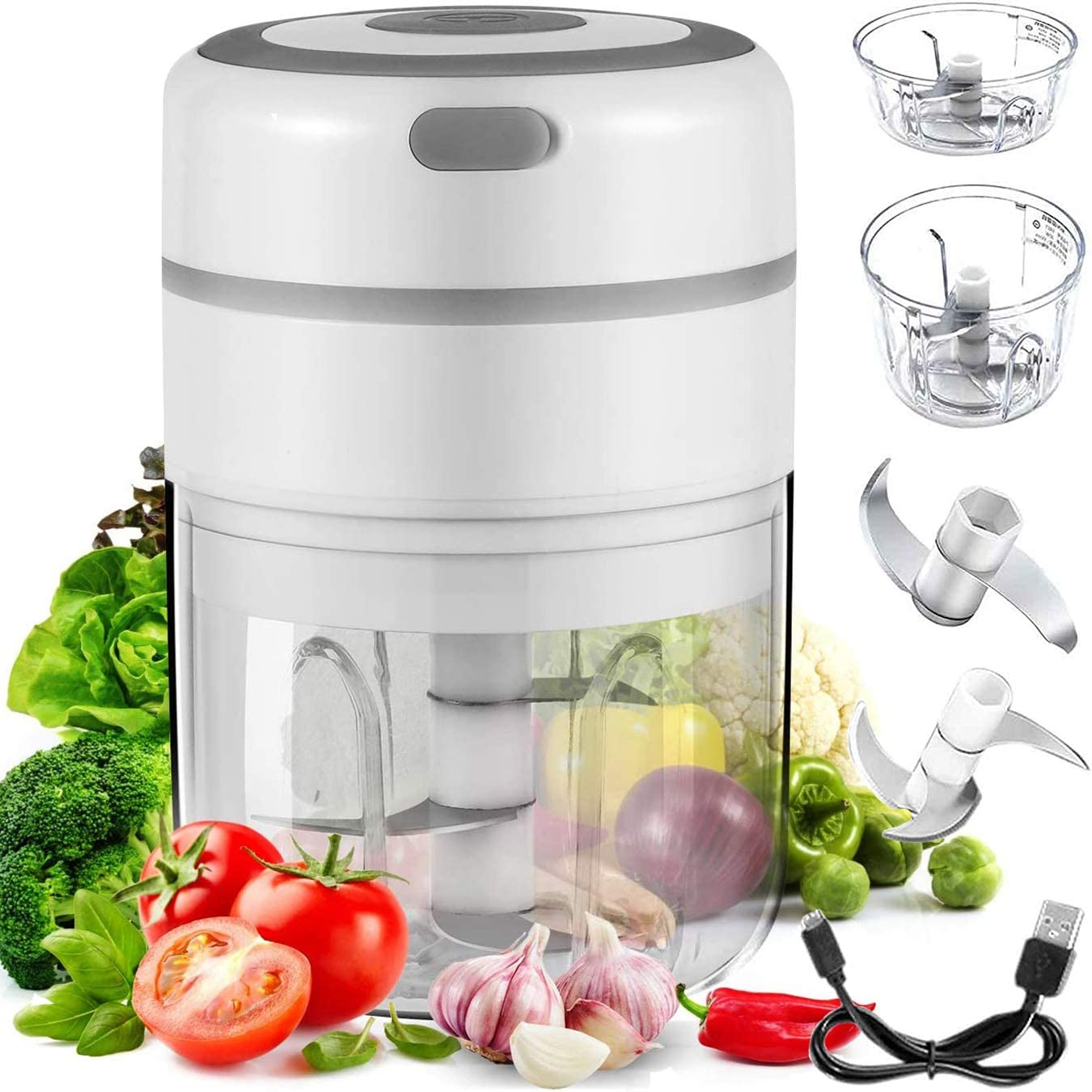 Electric Mini Garlic Chopper, Mini Chopper Food Processor, Handheld Mincer Electric Food Chopper for Chop Onion Nut Ginger Vegetable Pepper Spice Meat, Easy Cleaning(incold 3.5oz & 8.5oz) (White)