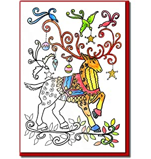 christmas cards for coloring by adults and children 8 cards to color envelopes included