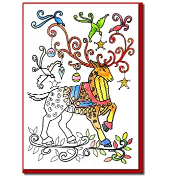 christmas cards for coloring by adults and children a6 size cards to color envelopes