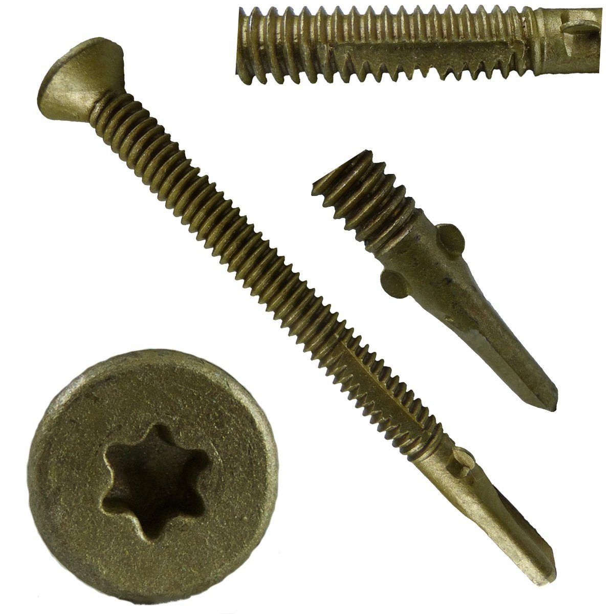 #14x2-3/4'' Reamer Tek Torx/Star Head Self-Drilling Wood to Metal Screws - 5 Pound (~170 Tek Screws) - Tek Screws for Flatbeds, Trailers, or where Fastening Wood to Steel - T-30 Torx Screw Head