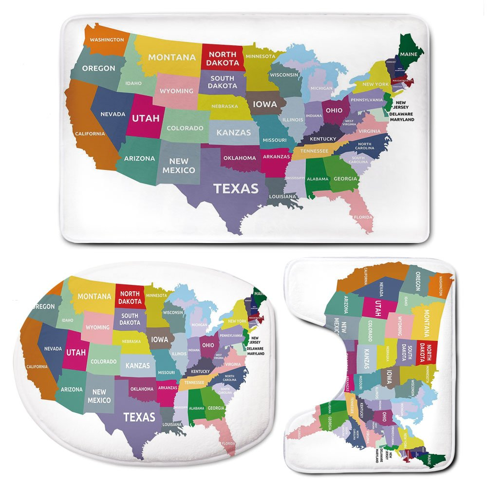 3 Piece Bath Mat Rug Set,Map,Bathroom Non-Slip Floor Mat,USA-Map-with-Name-of-States-in-Different-Colors-America-Geography-Cartography-Theme,Pedestal Rug + Lid Toilet Cover + Bath Mat,Multicolor