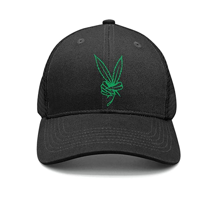 d015c60283f Marijuana Peace Cannabis Leaf Men s Polo Style Hat Curved Flat Peak ...