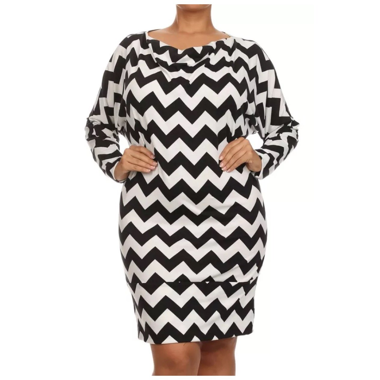 Dress Plus Chevron Black White Long Sleeve Cowl Neck Banded Hem Women at  Amazon Women's Clothing store:
