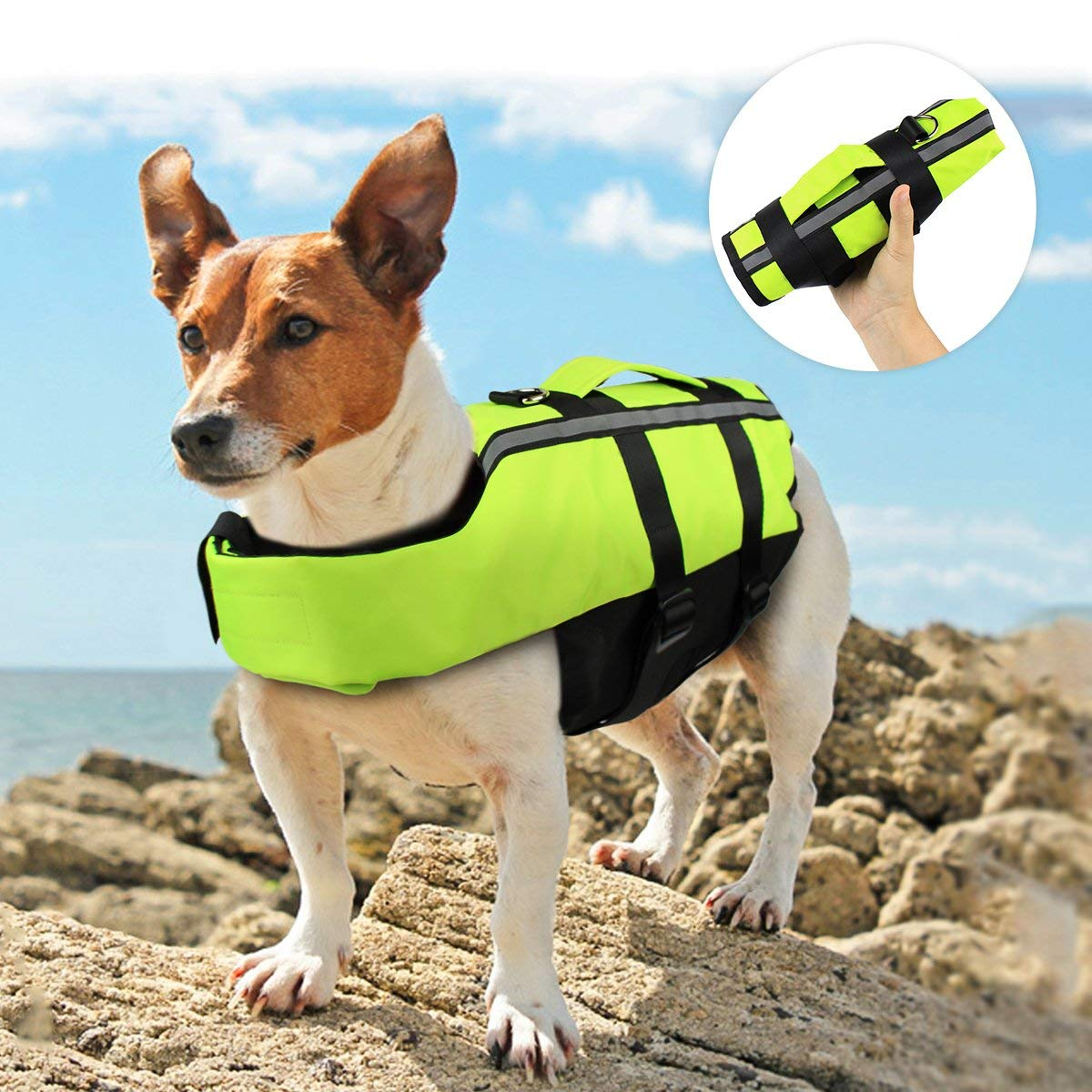 Namsan Dog Life Jacket - Folding Dog Life Vest,Portable Airbag Dog Swimming Jacket Vest,Green,Small