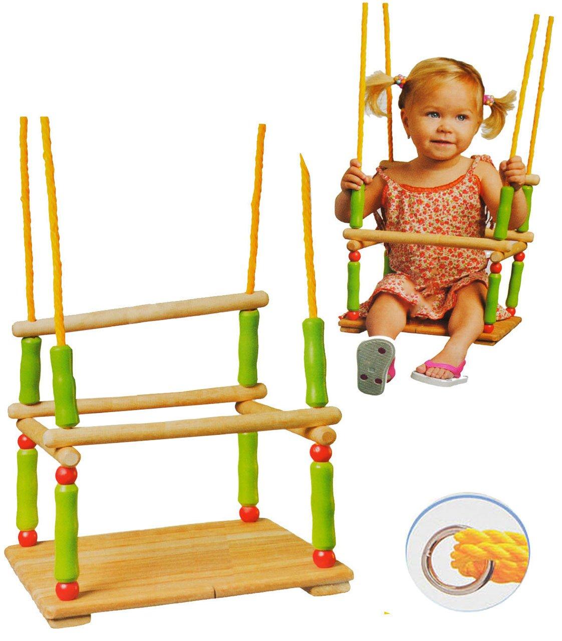 Schaukel aus Holz - Gitterschaukel - incl. Name - Kinderschaukel - leichter Einstieg ! Babyschaukel - Sicherheitsgurt Kleinkindschaukel verstellbar - Holzschaukel Baby Kinder - Holzgitterschaukel für Innen und Außen alles-meine.de GmbH