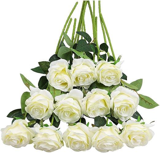 Artificial Foam Rose 12pcs Floral Flowers Bridal Wedding Party Christmas Decor