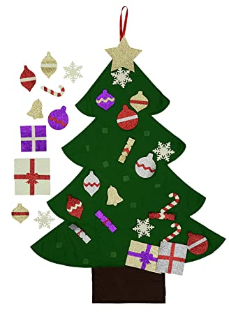 felt christmas tree for kids glitter edition 3ft wall or door hanging - Amazon Christmas Ornaments