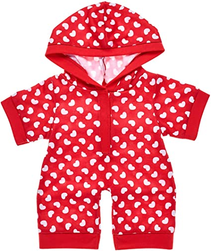 Build-A-Bear Red White Hoodie HEART SLEEPER One-Piece PAJAMAS Valentine Hearts