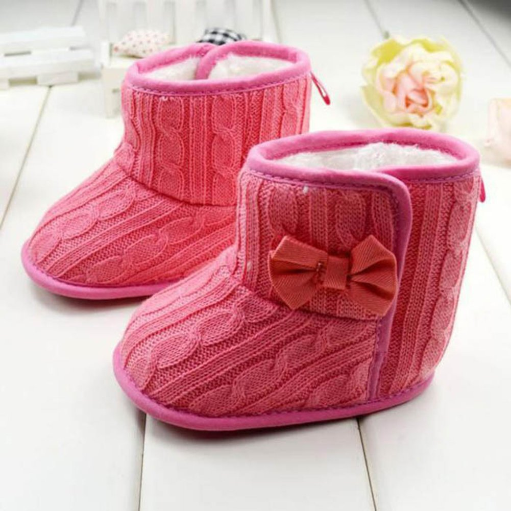 Red 13cm 1pair Baby Child Bowknot Soft Bottom Warm Winter Shoes Comfort Boots Crib Shoes Winter Warm Snow Boots 11-13cm