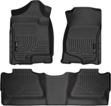 2007-2013 GMC Sierra Extended Cab Front /& Rear All Weather Floor Mats Black