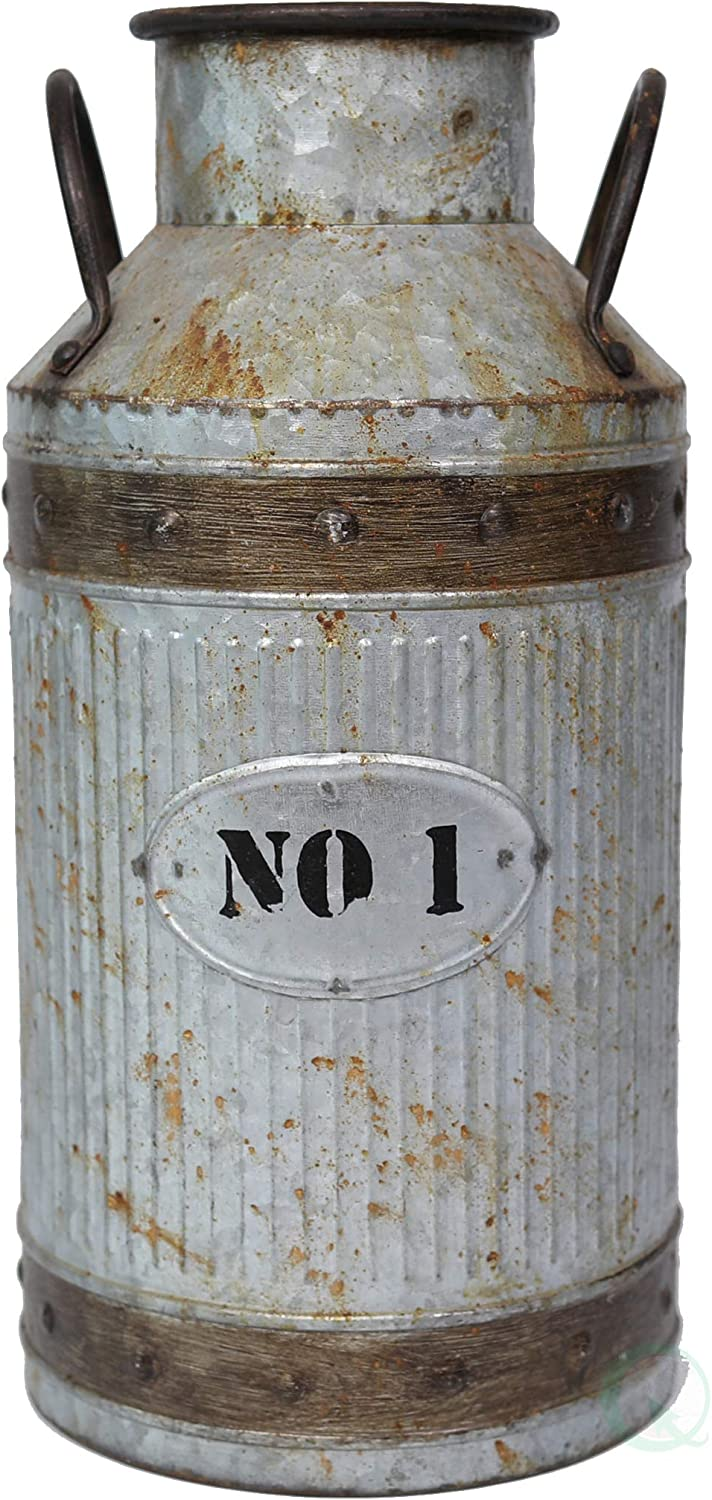 Vintiquewise Galvanized Metal Rustic Milk Can, Large