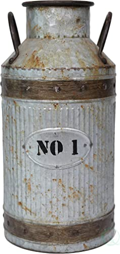 Vintiquewise Galvanized Metal Rustic Milk Can, Large