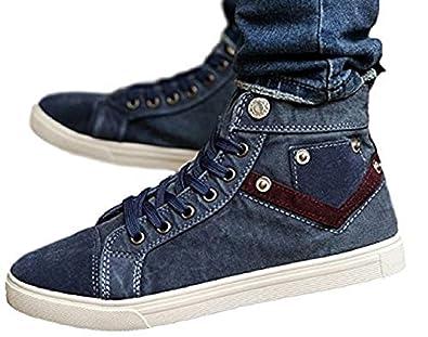 28bed961e91ff5 [ADCRAS] アドクラス メンズ ハイカット スニーカー デニム ジーンズ 生地 シューズ クラッシュ加工 ブーツ 靴 (