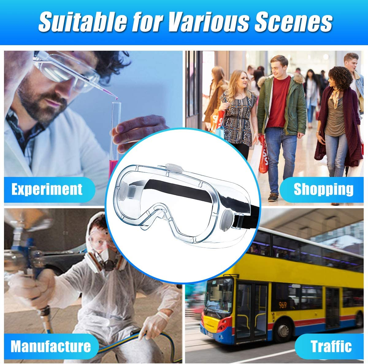 Safety Goggles Chemistry Personal or Professional Use Laboratory Hizek Protective glasses Workplace Goggles for Traveling Agriculture