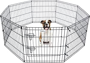 Pet Dog Playpen Foldable Puppy Exercise Pen Metal Portable Yard Fence for Small Dog & Travel Camping 8 Panel-24& 42''
