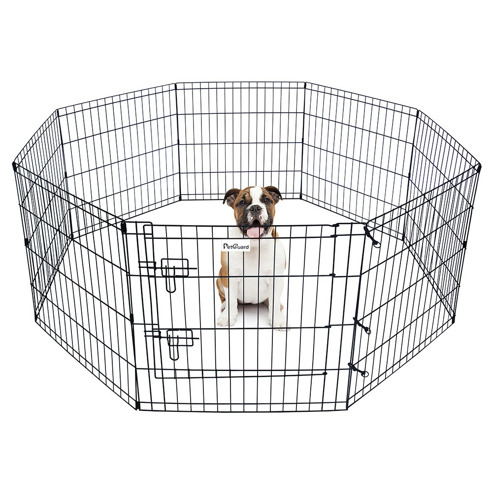 24 Pet Dog Playpen Foldable Exercise Pen Metal Yard Fence//Portable for travel camping 8 Panel-24