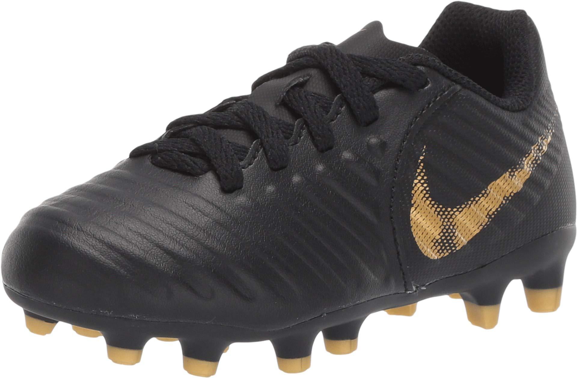 Nike Youth Legend 7 Club MG Soccer Cleats (Black/Metallic Vivid Gold) (3Y)